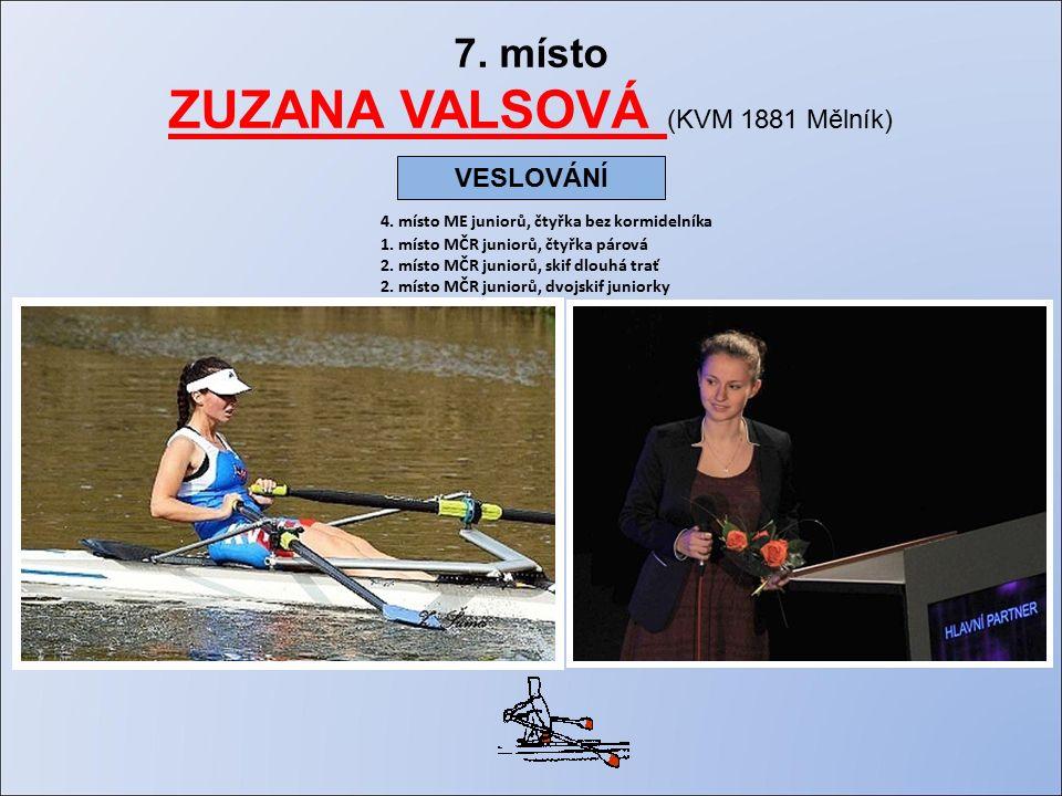 7. místo ZUZANA VALSOVÁ (KVM 1881 Mělník) 4. místo ME juniorů, čtyřka bez kormidelníka 1.