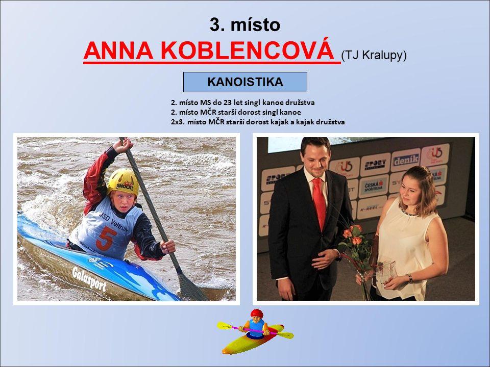 3. místo ANNA KOBLENCOVÁ (TJ Kralupy) 2. místo MS do 23 let singl kanoe družstva 2.