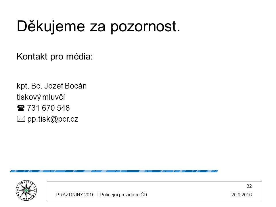 """20.9.2016PRÁZDNINY 2016 l Policejní prezidium ČR 31 """"Jezděte bezpečně, věnujte se řízení!"""