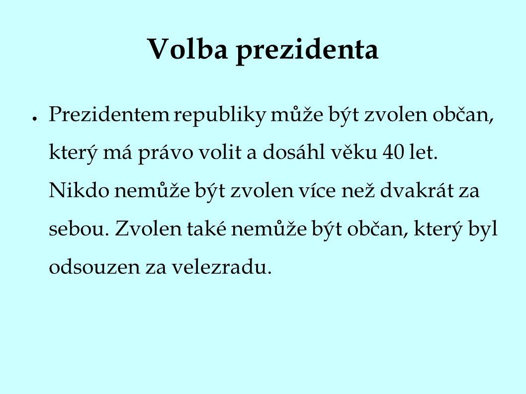 Volba prezidenta ● Prezidentem republiky může být zvolen občan, který má právo volit a dosáhl věku 40 let.