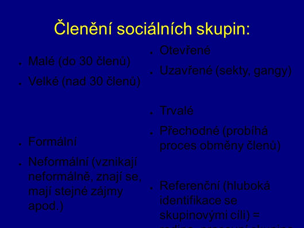 Členění sociálních skupin: ● Malé (do 30 členů) ● Velké (nad 30 členů) ● Formální ● Neformální (vznikají neformálně, znají se, mají stejné zájmy apod.
