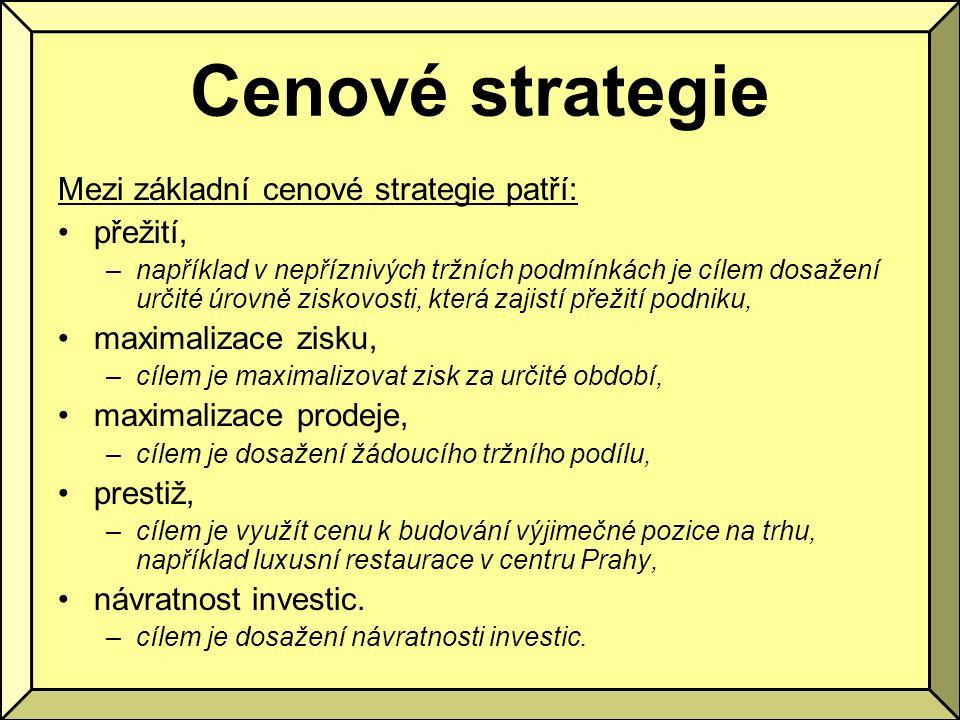 Cenové strategie Mezi základní cenové strategie patří: přežití, –například v nepříznivých tržních podmínkách je cílem dosažení určité úrovně ziskovost