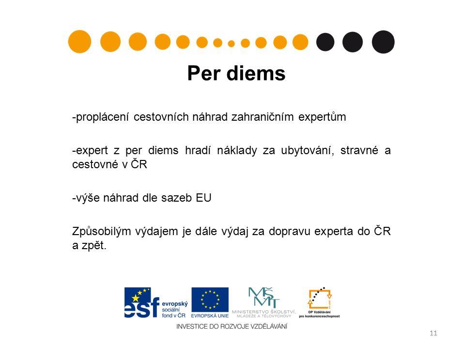 Per diems -proplácení cestovních náhrad zahraničním expertům -expert z per diems hradí náklady za ubytování, stravné a cestovné v ČR -výše náhrad dle sazeb EU Způsobilým výdajem je dále výdaj za dopravu experta do ČR a zpět.