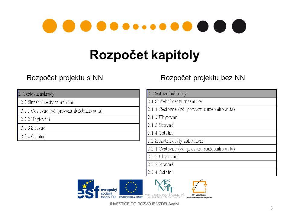 Rozpočet kapitoly Rozpočet projektu s NNRozpočet projektu bez NN 5