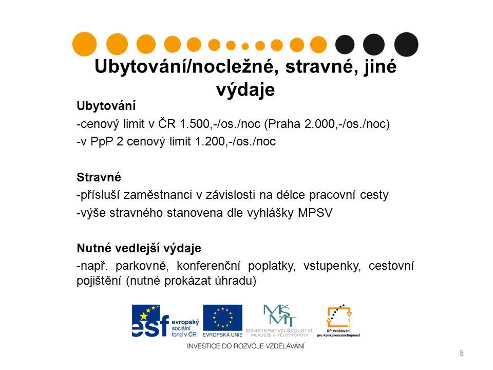 Ubytování/nocležné, stravné, jiné výdaje Ubytování -cenový limit v ČR 1.500,-/os./noc (Praha 2.000,-/os./noc) -v PpP 2 cenový limit 1.200,-/os./noc Stravné -přísluší zaměstnanci v závislosti na délce pracovní cesty -výše stravného stanovena dle vyhlášky MPSV Nutné vedlejší výdaje -např.