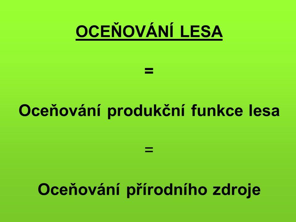 OCEŇOVÁNÍ LESA = Oceňování produkční funkce lesa = Oceňování přírodního zdroje