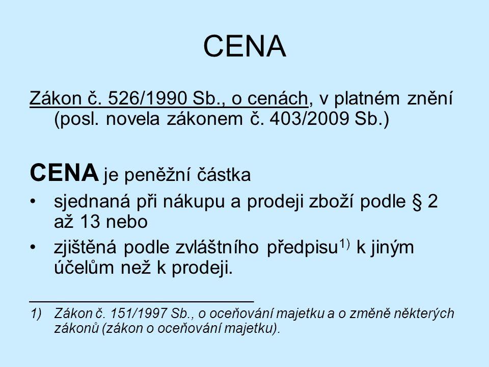 CENA Zákon č. 526/1990 Sb., o cenách, v platném znění (posl.