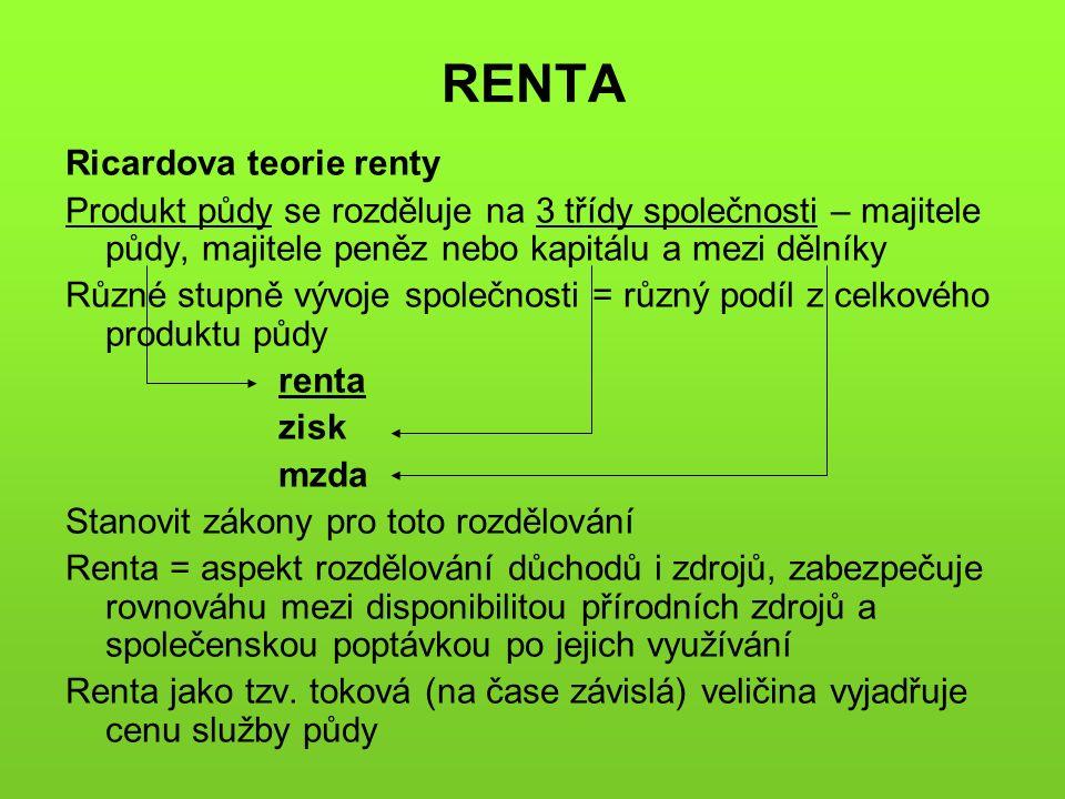 RENTA Ricardova teorie renty Produkt půdy se rozděluje na 3 třídy společnosti – majitele půdy, majitele peněz nebo kapitálu a mezi dělníky Různé stupně vývoje společnosti = různý podíl z celkového produktu půdy renta zisk mzda Stanovit zákony pro toto rozdělování Renta = aspekt rozdělování důchodů i zdrojů, zabezpečuje rovnováhu mezi disponibilitou přírodních zdrojů a společenskou poptávkou po jejich využívání Renta jako tzv.