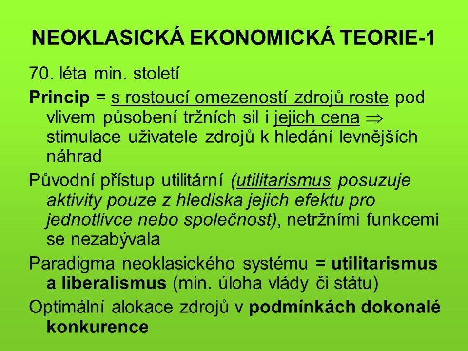 NEOKLASICKÁ EKONOMICKÁ TEORIE-1 70. léta min.