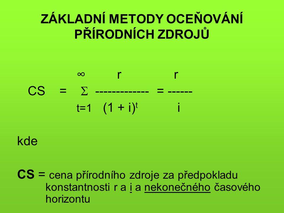 ZÁKLADNÍ METODY OCEŇOVÁNÍ PŘÍRODNÍCH ZDROJŮ ∞ r r CS =  ------------- = ------ t=1 (1 + i) t i kde CS = cena přírodního zdroje za předpokladu konstantnosti r a i a nekonečného časového horizontu
