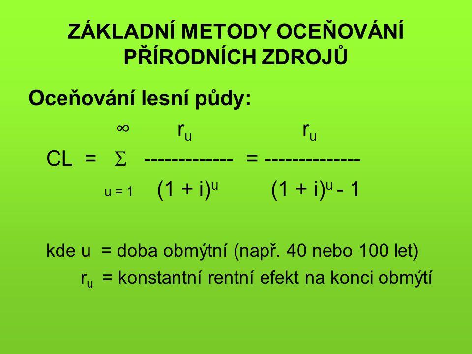 ZÁKLADNÍ METODY OCEŇOVÁNÍ PŘÍRODNÍCH ZDROJŮ Oceňování lesní půdy: ∞ r u r u CL =  ------------- = -------------- u = 1 (1 + i) u (1 + i) u - 1 kde u = doba obmýtní (např.
