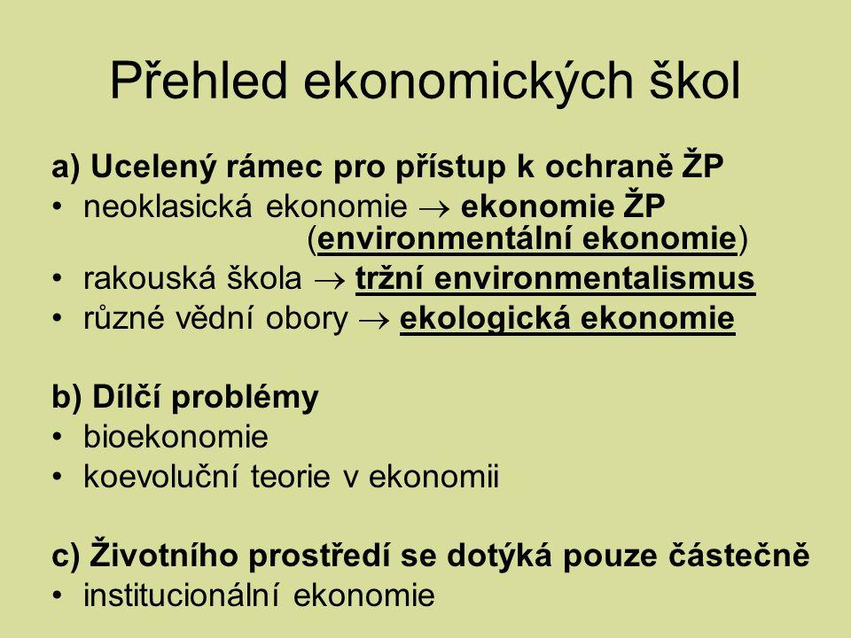 Přehled ekonomických škol a) Ucelený rámec pro přístup k ochraně ŽP neoklasická ekonomie  ekonomie ŽP (environmentální ekonomie) rakouská škola  tržní environmentalismus různé vědní obory  ekologická ekonomie b) Dílčí problémy bioekonomie koevoluční teorie v ekonomii c) Životního prostředí se dotýká pouze částečně institucionální ekonomie