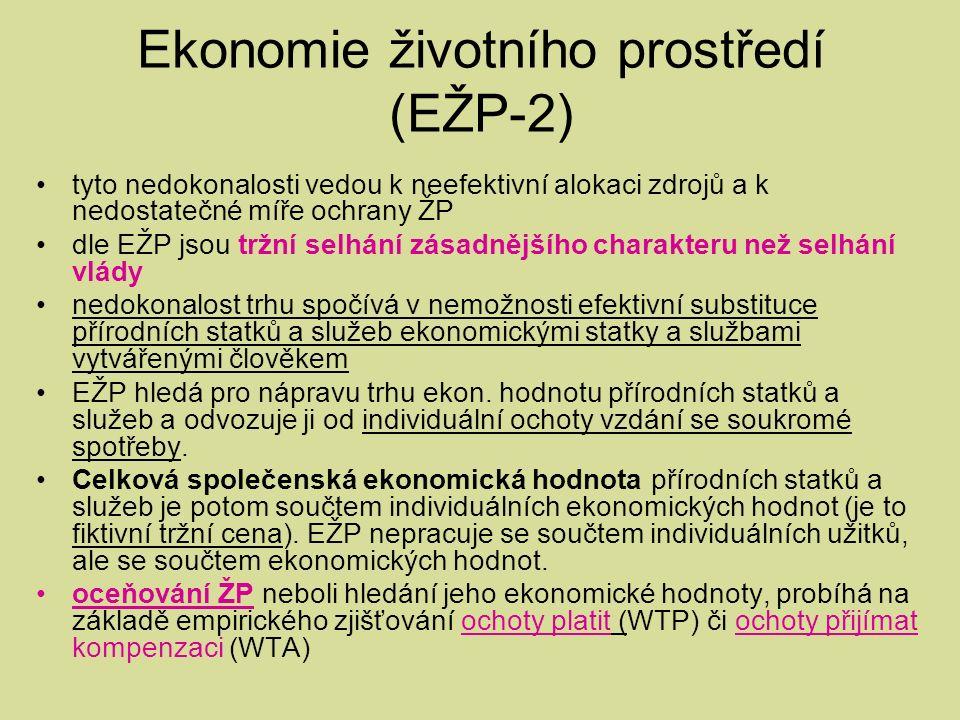 Ekonomie životního prostředí (EŽP-2) tyto nedokonalosti vedou k neefektivní alokaci zdrojů a k nedostatečné míře ochrany ŽP dle EŽP jsou tržní selhání zásadnějšího charakteru než selhání vlády nedokonalost trhu spočívá v nemožnosti efektivní substituce přírodních statků a služeb ekonomickými statky a službami vytvářenými člověkem EŽP hledá pro nápravu trhu ekon.