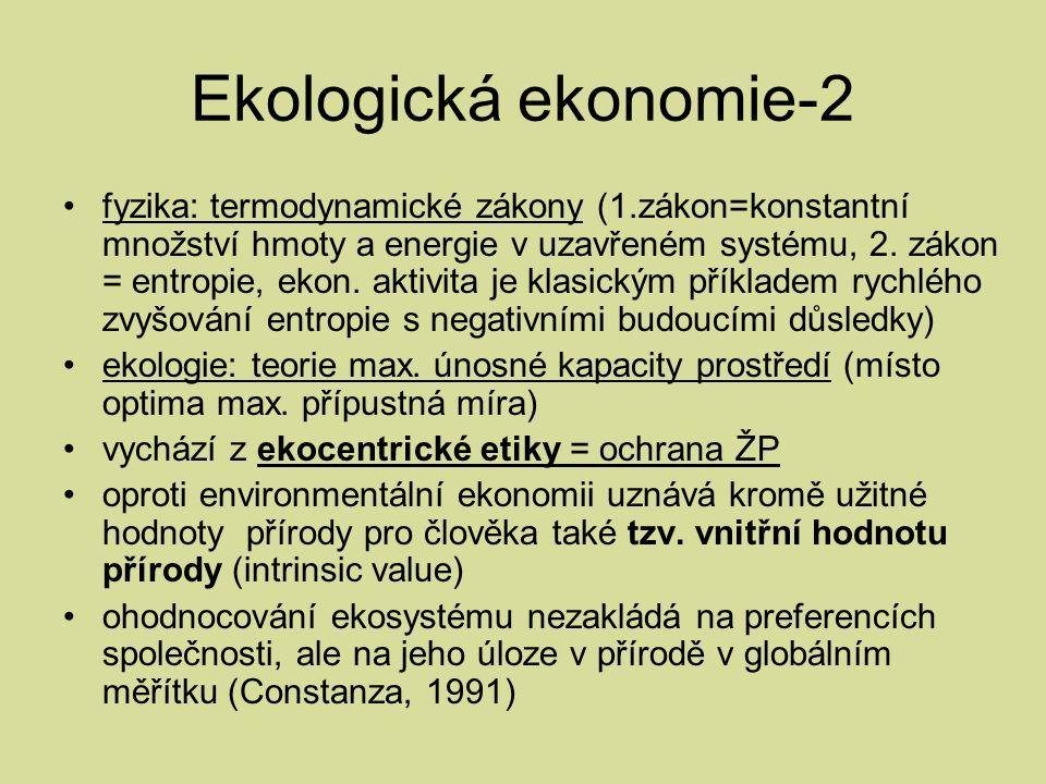 Ekologická ekonomie-2 fyzika: termodynamické zákony (1.zákon=konstantní množství hmoty a energie v uzavřeném systému, 2.