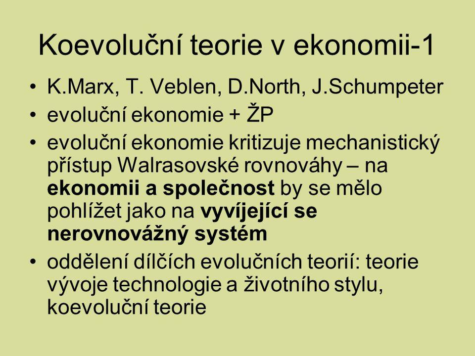Koevoluční teorie v ekonomii-1 K.Marx, T.