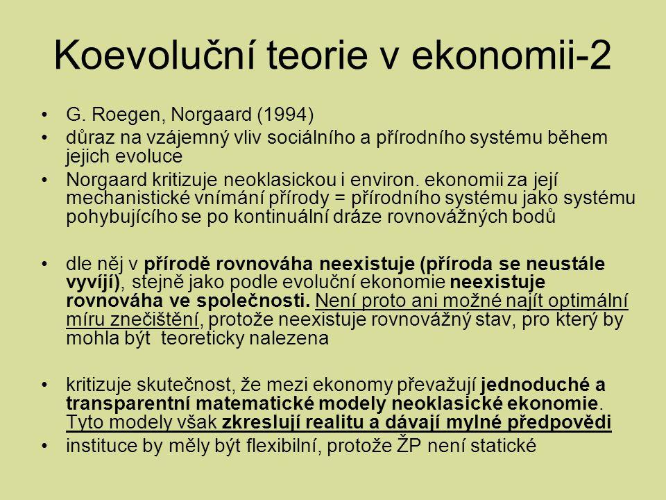 Koevoluční teorie v ekonomii-2 G.