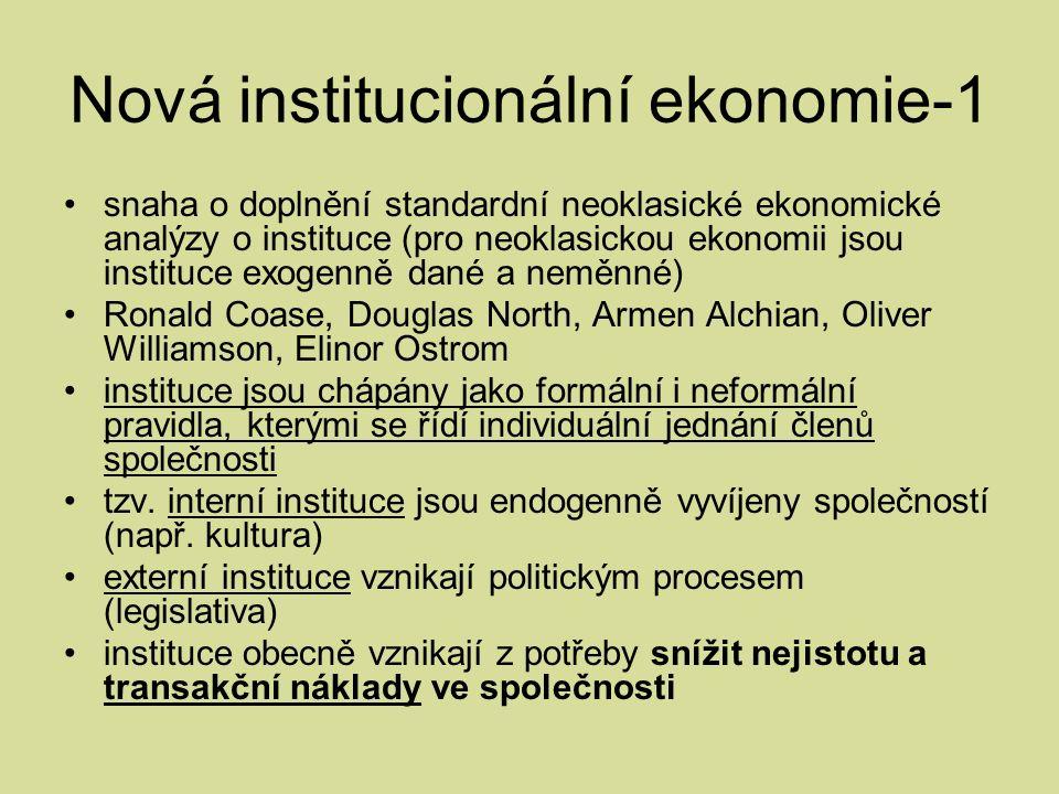 Nová institucionální ekonomie-1 snaha o doplnění standardní neoklasické ekonomické analýzy o instituce (pro neoklasickou ekonomii jsou instituce exogenně dané a neměnné) Ronald Coase, Douglas North, Armen Alchian, Oliver Williamson, Elinor Ostrom instituce jsou chápány jako formální i neformální pravidla, kterými se řídí individuální jednání členů společnosti tzv.