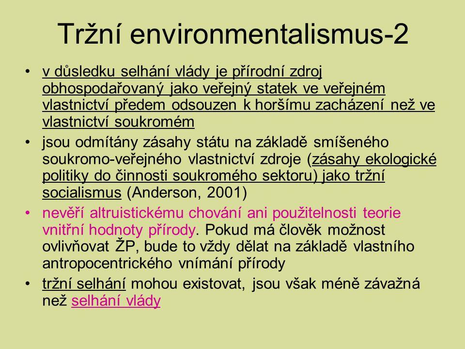 Tržní environmentalismus-2 v důsledku selhání vlády je přírodní zdroj obhospodařovaný jako veřejný statek ve veřejném vlastnictví předem odsouzen k horšímu zacházení než ve vlastnictví soukromém jsou odmítány zásahy státu na základě smíšeného soukromo-veřejného vlastnictví zdroje (zásahy ekologické politiky do činnosti soukromého sektoru) jako tržní socialismus (Anderson, 2001) nevěří altruistickému chování ani použitelnosti teorie vnitřní hodnoty přírody.