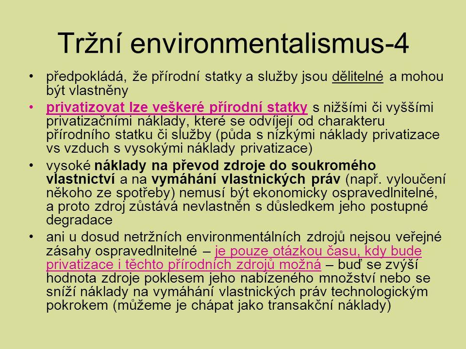 Tržní environmentalismus-4 předpokládá, že přírodní statky a služby jsou dělitelné a mohou být vlastněny privatizovat lze veškeré přírodní statky s nižšími či vyššími privatizačními náklady, které se odvíjejí od charakteru přírodního statku či služby (půda s nízkými náklady privatizace vs vzduch s vysokými náklady privatizace) vysoké náklady na převod zdroje do soukromého vlastnictví a na vymáhání vlastnických práv (např.
