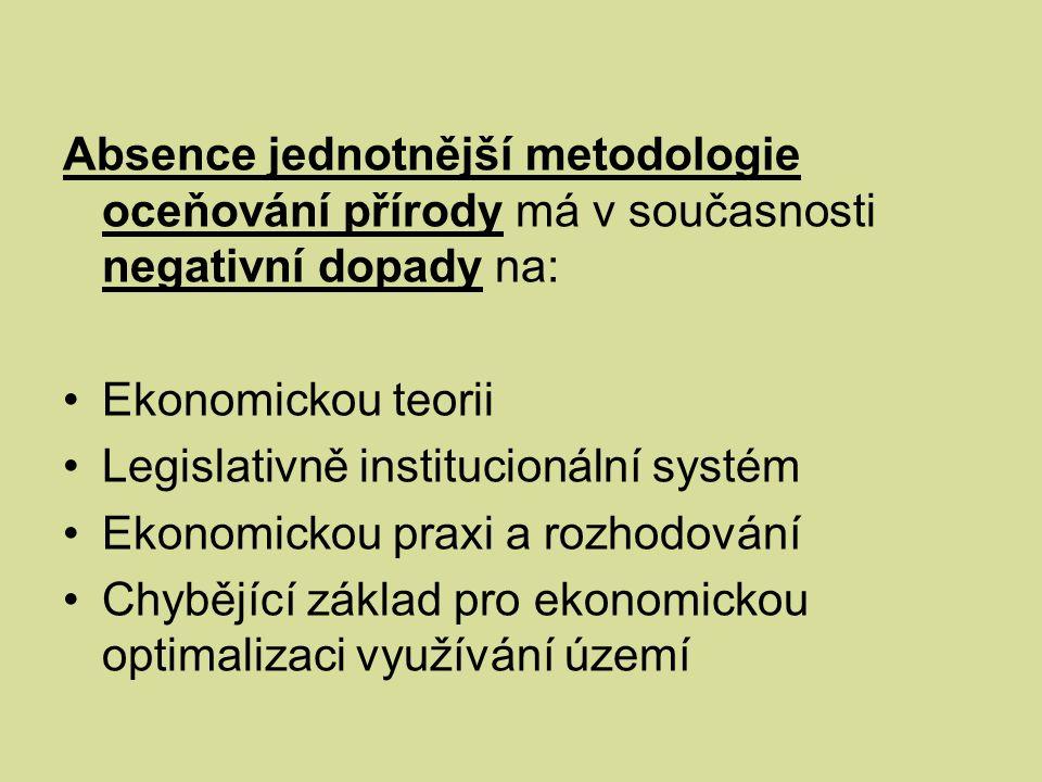 Absence jednotnější metodologie oceňování přírody má v současnosti negativní dopady na: Ekonomickou teorii Legislativně institucionální systém Ekonomickou praxi a rozhodování Chybějící základ pro ekonomickou optimalizaci využívání území
