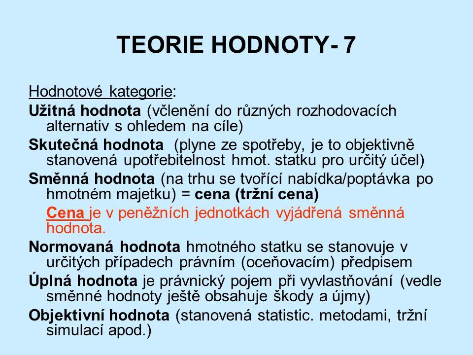 TEORIE HODNOTY- 7 Hodnotové kategorie: Užitná hodnota (včlenění do různých rozhodovacích alternativ s ohledem na cíle) Skutečná hodnota (plyne ze spotřeby, je to objektivně stanovená upotřebitelnost hmot.