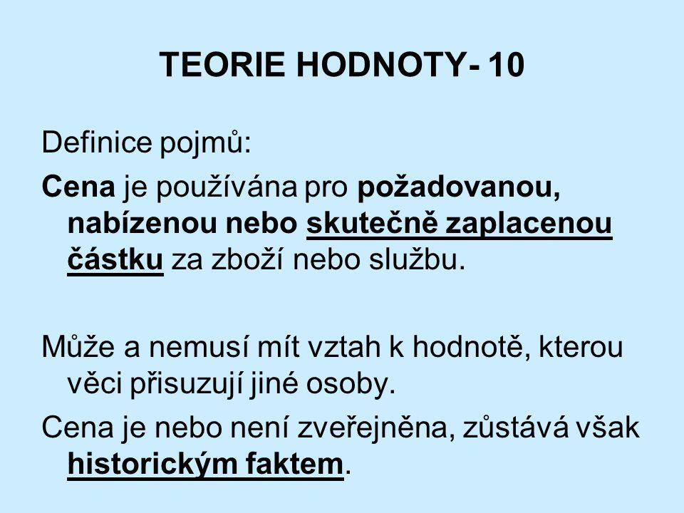 TEORIE HODNOTY- 10 Definice pojmů: Cena je používána pro požadovanou, nabízenou nebo skutečně zaplacenou částku za zboží nebo službu.