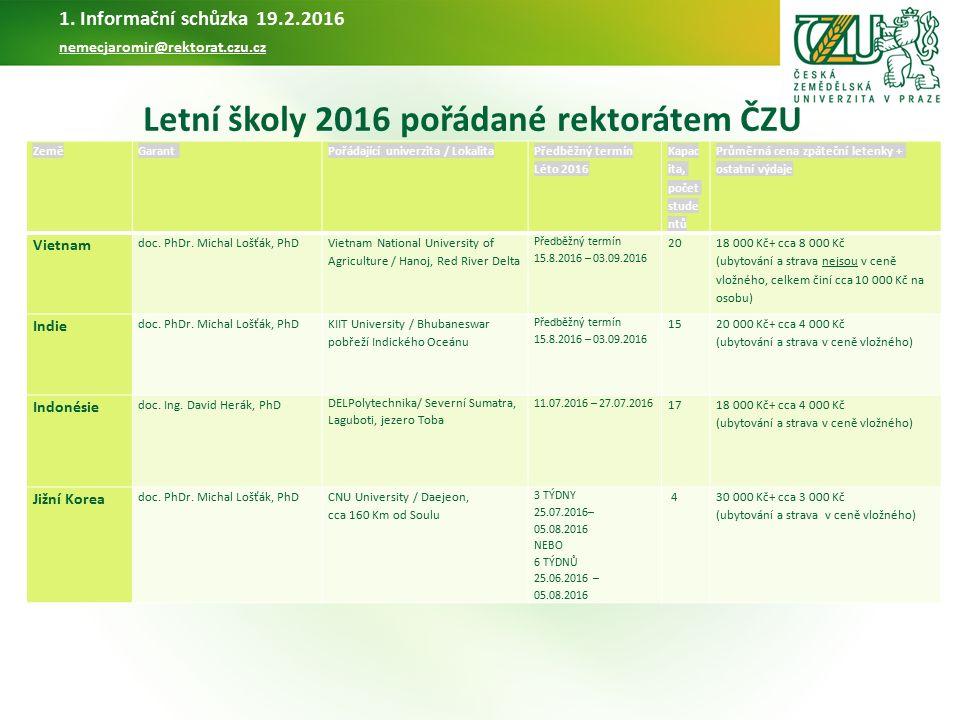 Letní školy pořádané FTZ v létě 2016 Garant: Ing.Petra Chaloupková, PhD 1.