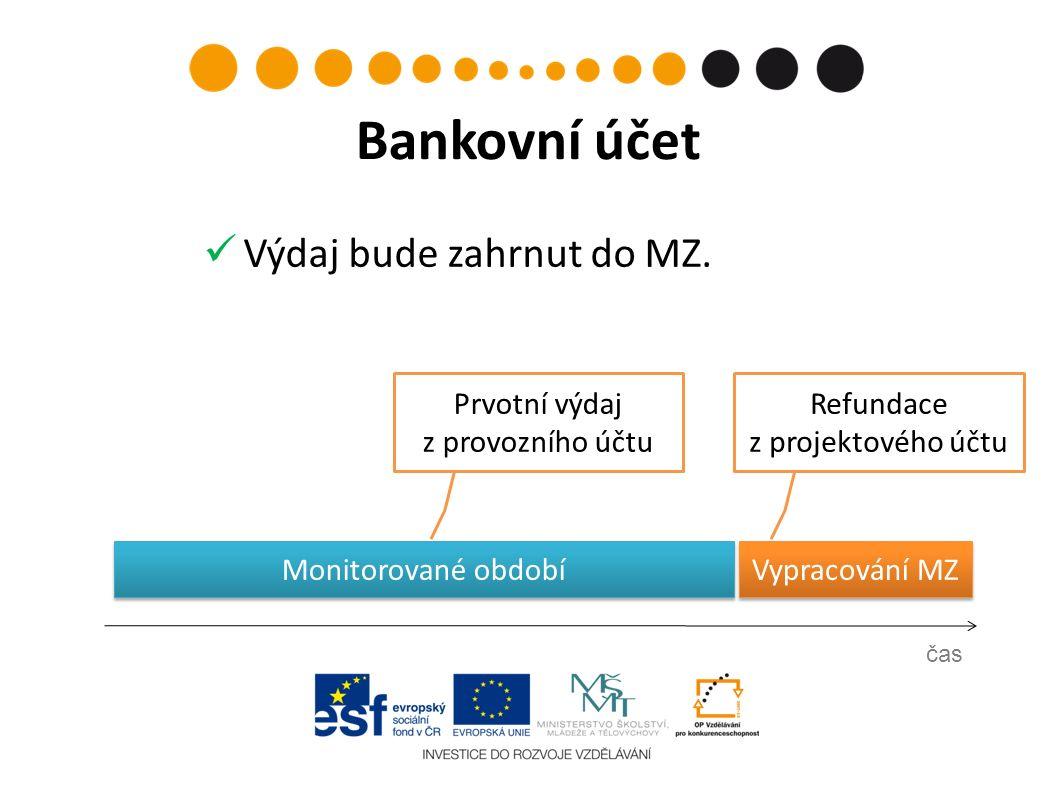 Prvotní výdaj z provozního účtu čas Bankovní účet Refundace z projektového účtu Vypracování MZ Monitorované období Výdaj bude zahrnut do MZ.