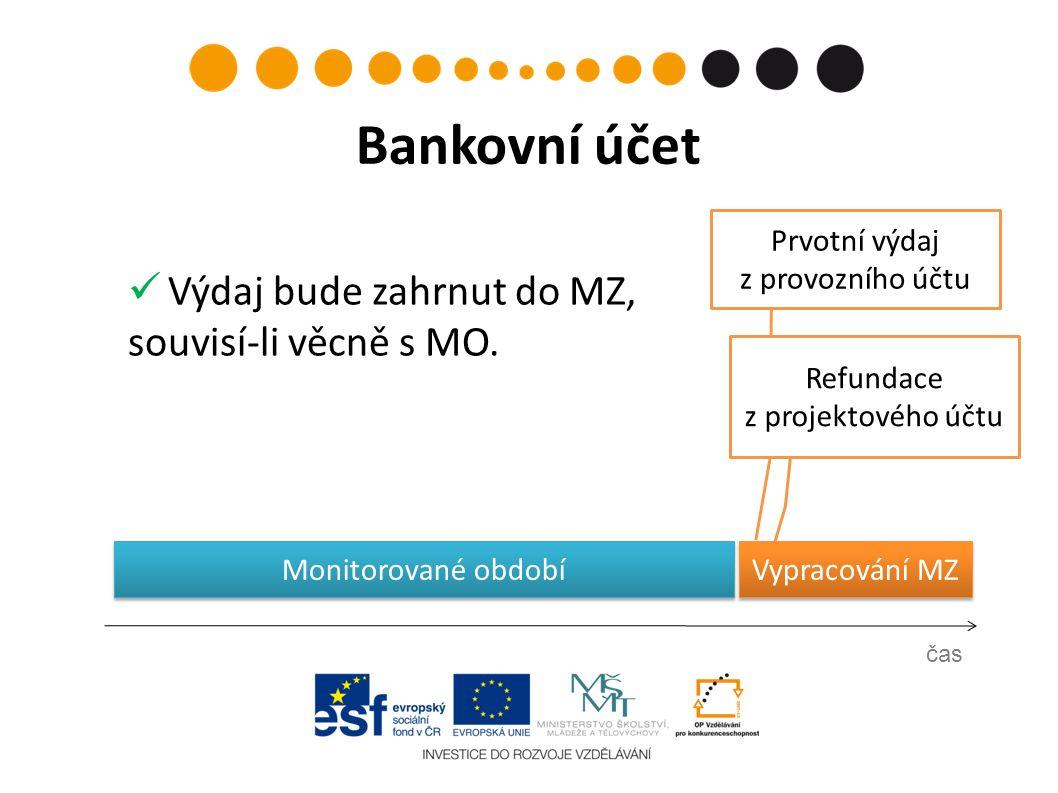 Prvotní výdaj z provozního účtu čas Bankovní účet Refundace z projektového účtu Vypracování MZ Monitorované období Výdaj bude zahrnut do MZ, souvisí-li věcně s MO.