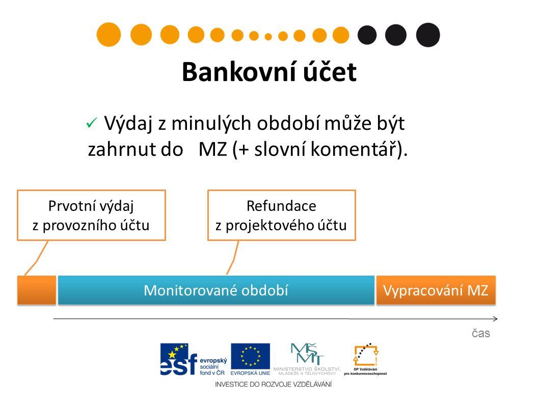 Prvotní výdaj z provozního účtu čas Bankovní účet Refundace z projektového účtu Vypracování MZ Výdaj z minulých období může být zahrnut do MZ (+ slovní komentář).