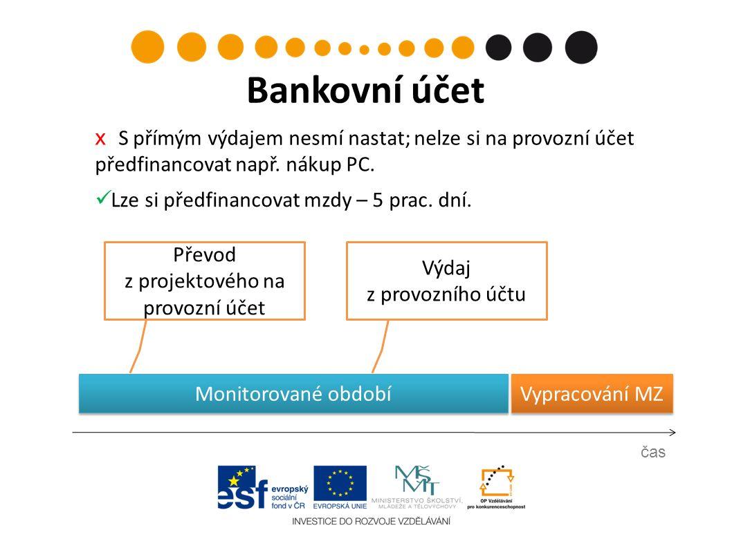 Vypracování MZ Výdaj z provozního účtu čas Bankovní účet Převod z projektového na provozní účet х S přímým výdajem nesmí nastat; nelze si na provozní účet předfinancovat např.