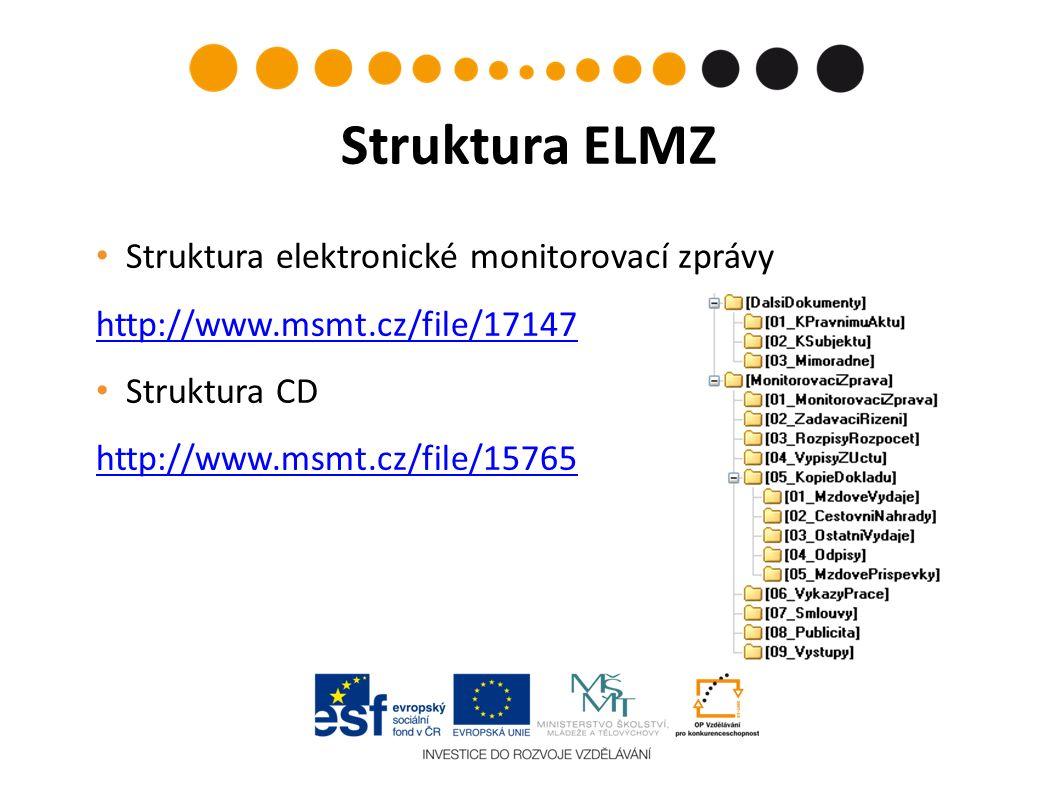 Struktura elektronické monitorovací zprávy http://www.msmt.cz/file/17147 http://www.msmt.cz/file/17147 Struktura CD http://www.msmt.cz/file/15765 Struktura ELMZ