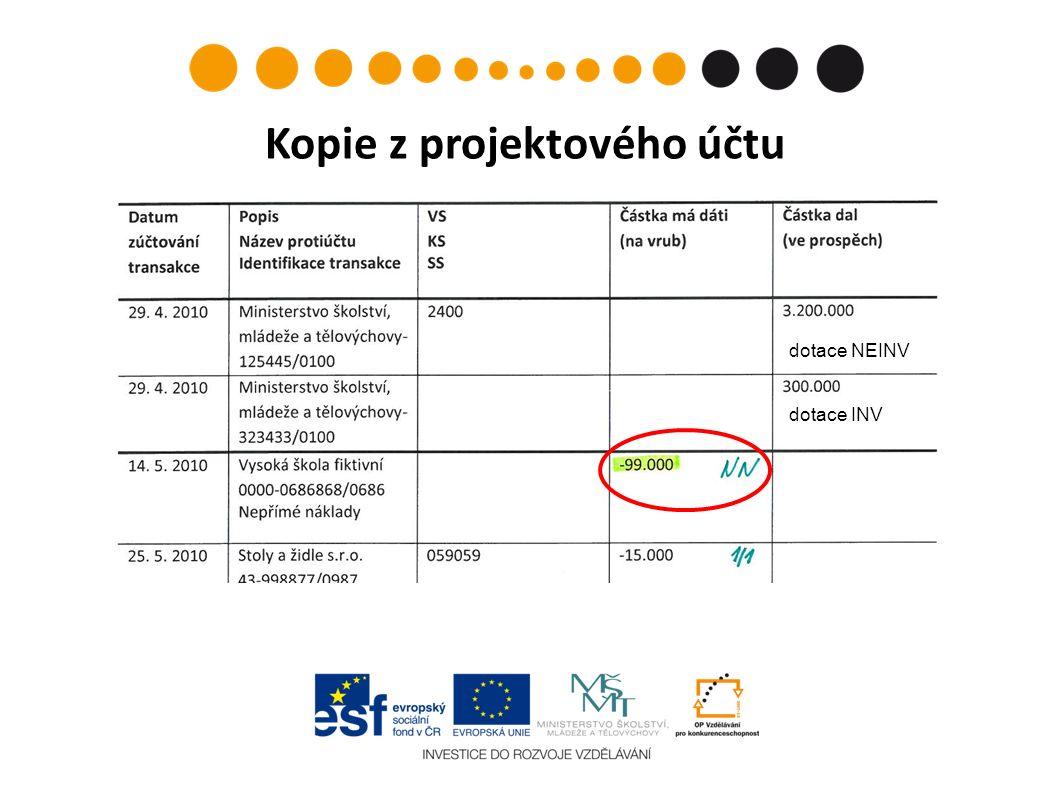 Kopie z projektového účtu dotace NEINV dotace INV