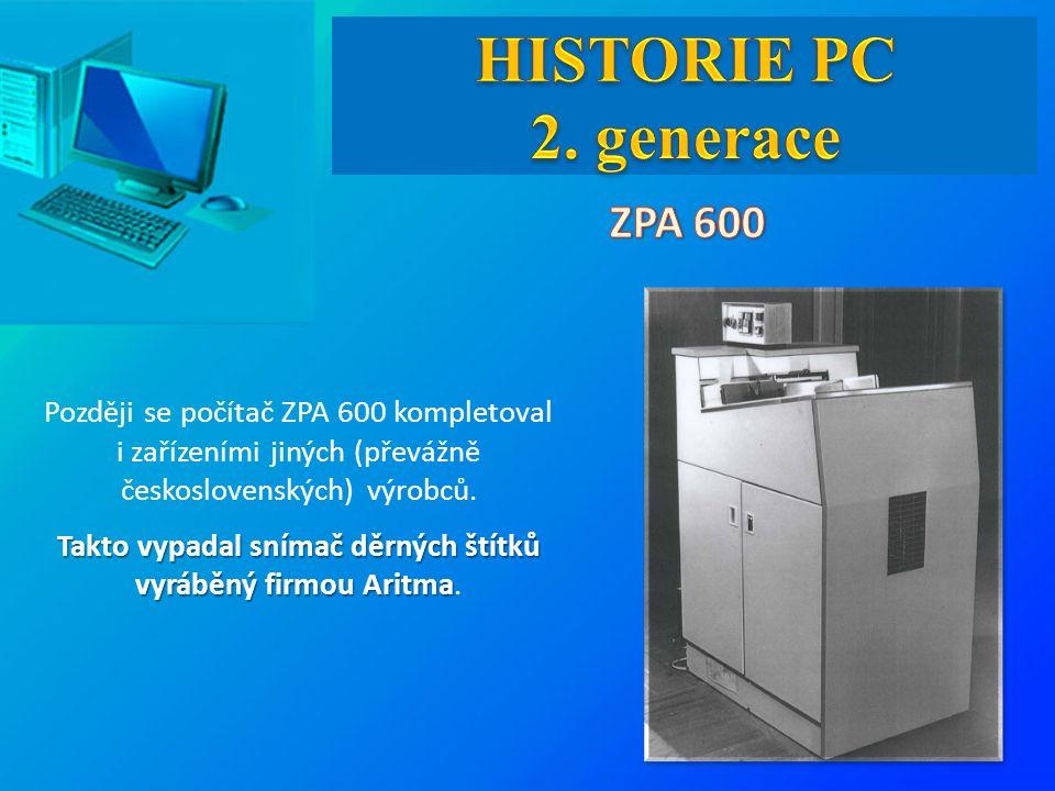 Později se počítač ZPA 600 kompletoval i zařízeními jiných (převážně československých) výrobců. Takto vypadal snímač děrných štítků vyráběný firmou Ar