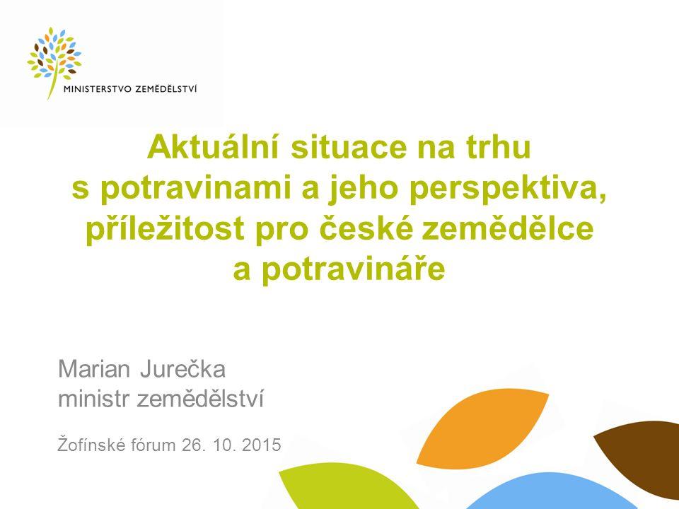 Aktuální situace na trhu s potravinami a jeho perspektiva, příležitost pro české zemědělce a potravináře Marian Jurečka ministr zemědělství Žofínské f