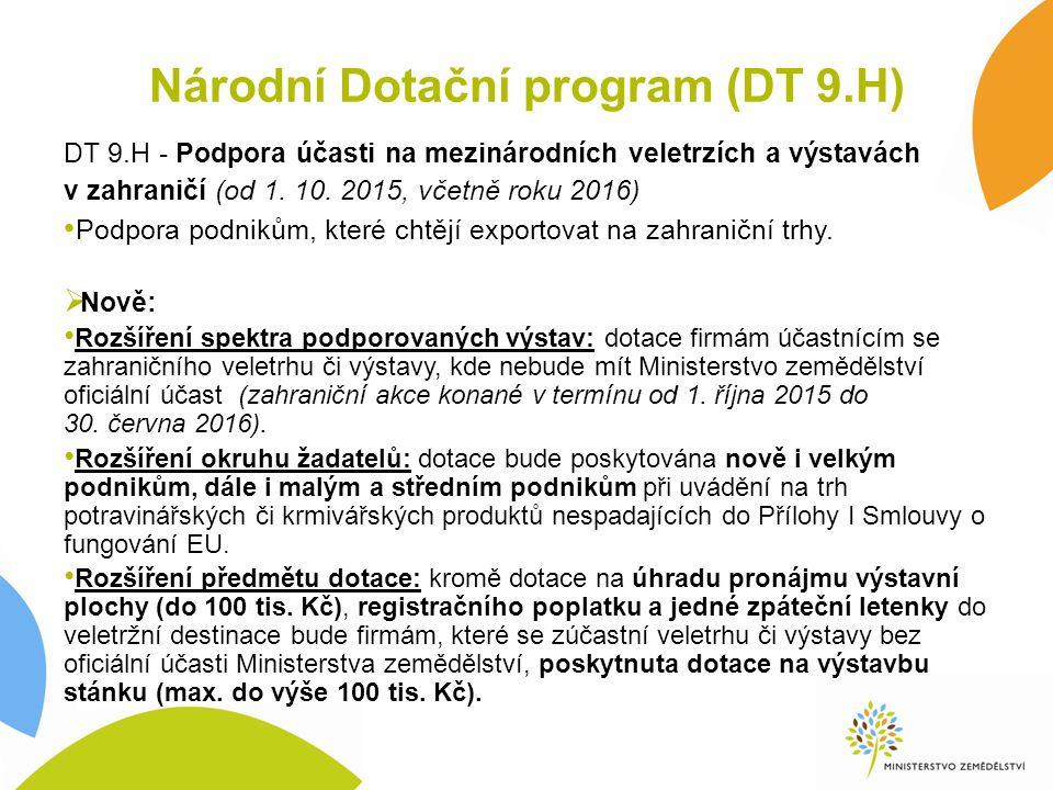 Národní Dotační program (DT 9.H) DT 9.H - Podpora účasti na mezinárodních veletrzích a výstavách v zahraničí (od 1. 10. 2015, včetně roku 2016) Podpor