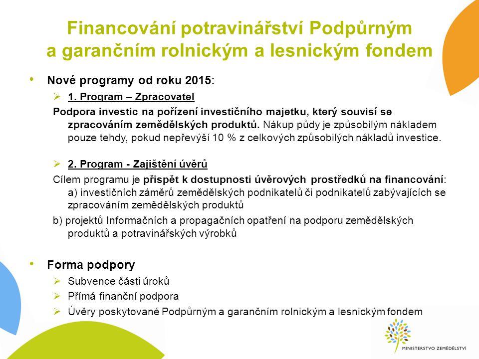 Financování potravinářství Podpůrným a garančním rolnickým a lesnickým fondem Nové programy od roku 2015:  1. Program – Zpracovatel Podpora investic