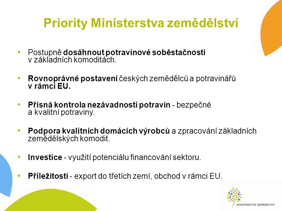 Priority Ministerstva zemědělství Postupně dosáhnout potravinové soběstačnosti v základních komoditách. Rovnoprávné postavení českých zemědělců a potr