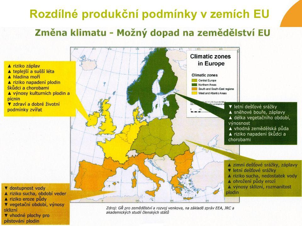 Rozdílné produkční podmínky v zemích EU