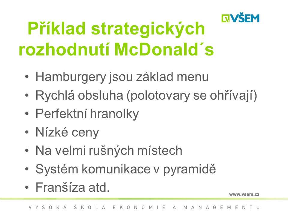 Příklad strategických rozhodnutí McDonald´s Hamburgery jsou základ menu Rychlá obsluha (polotovary se ohřívají) Perfektní hranolky Nízké ceny Na velmi rušných místech Systém komunikace v pyramidě Franšíza atd.