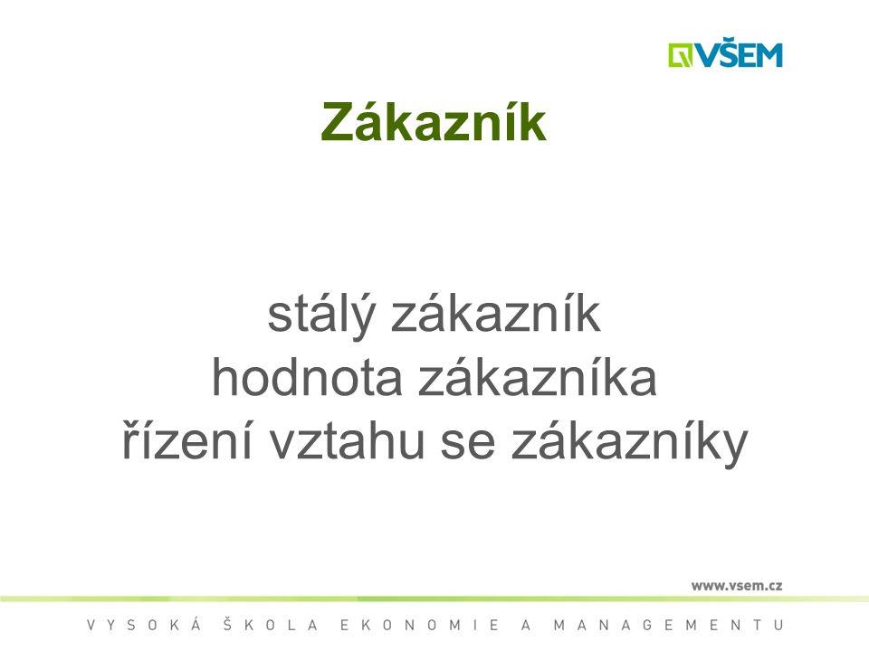 Zákazník stálý zákazník hodnota zákazníka řízení vztahu se zákazníky