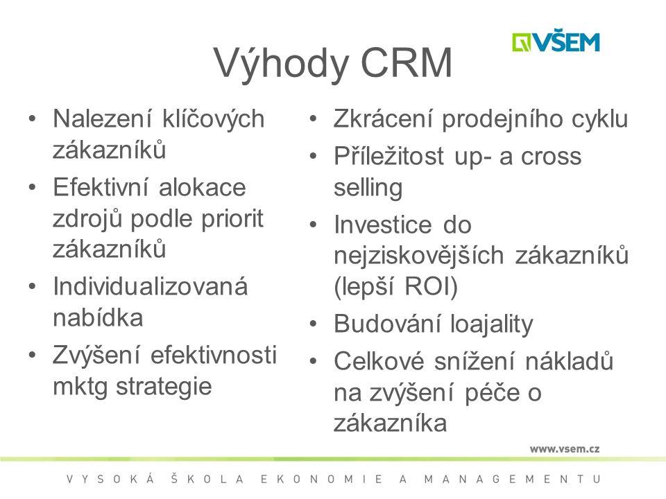 Výhody CRM Nalezení klíčových zákazníků Efektivní alokace zdrojů podle priorit zákazníků Individualizovaná nabídka Zvýšení efektivnosti mktg strategie Zkrácení prodejního cyklu Příležitost up- a cross selling Investice do nejziskovějších zákazníků (lepší ROI) Budování loajality Celkové snížení nákladů na zvýšení péče o zákazníka