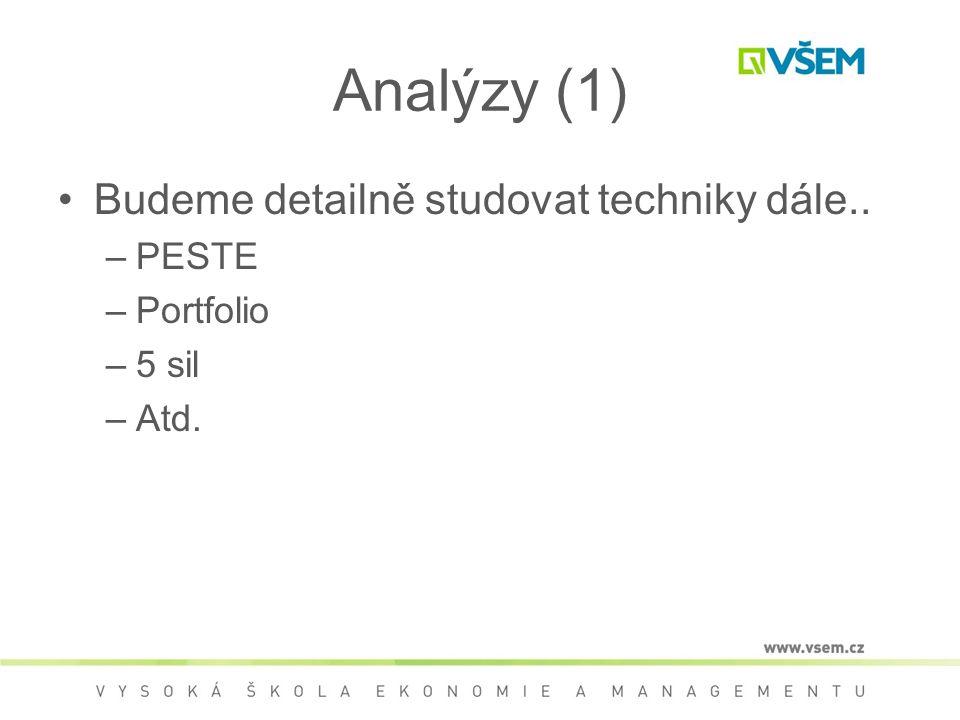 Analýzy (1) Budeme detailně studovat techniky dále.. –PESTE –Portfolio –5 sil –Atd.