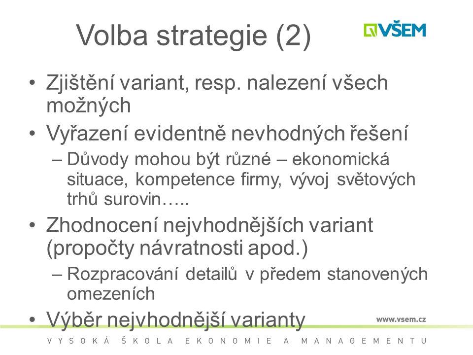 Volba strategie (2) Zjištění variant, resp.