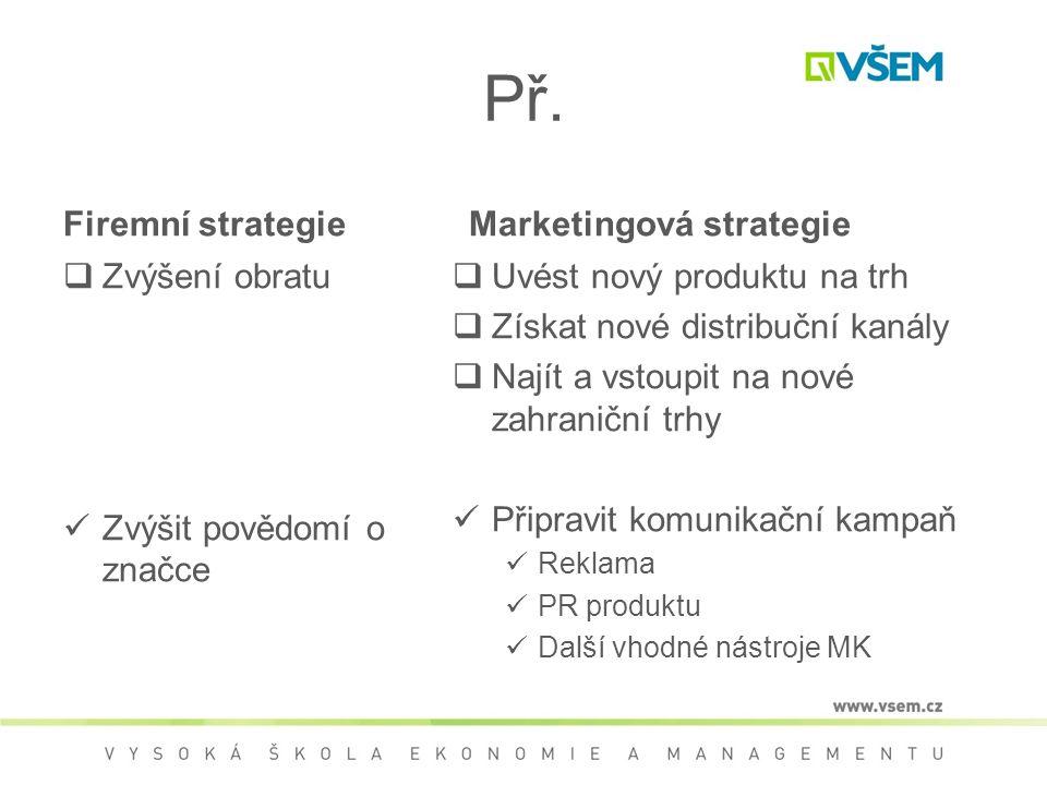 Př. Firemní strategie  Zvýšení obratu Zvýšit povědomí o značce Marketingová strategie  Uvést nový produktu na trh  Získat nové distribuční kanály 