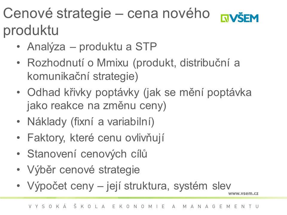 Cenové strategie – cena nového produktu Analýza – produktu a STP Rozhodnutí o Mmixu (produkt, distribuční a komunikační strategie) Odhad křivky poptávky (jak se mění poptávka jako reakce na změnu ceny) Náklady (fixní a variabilní) Faktory, které cenu ovlivňují Stanovení cenových cílů Výběr cenové strategie Výpočet ceny – její struktura, systém slev