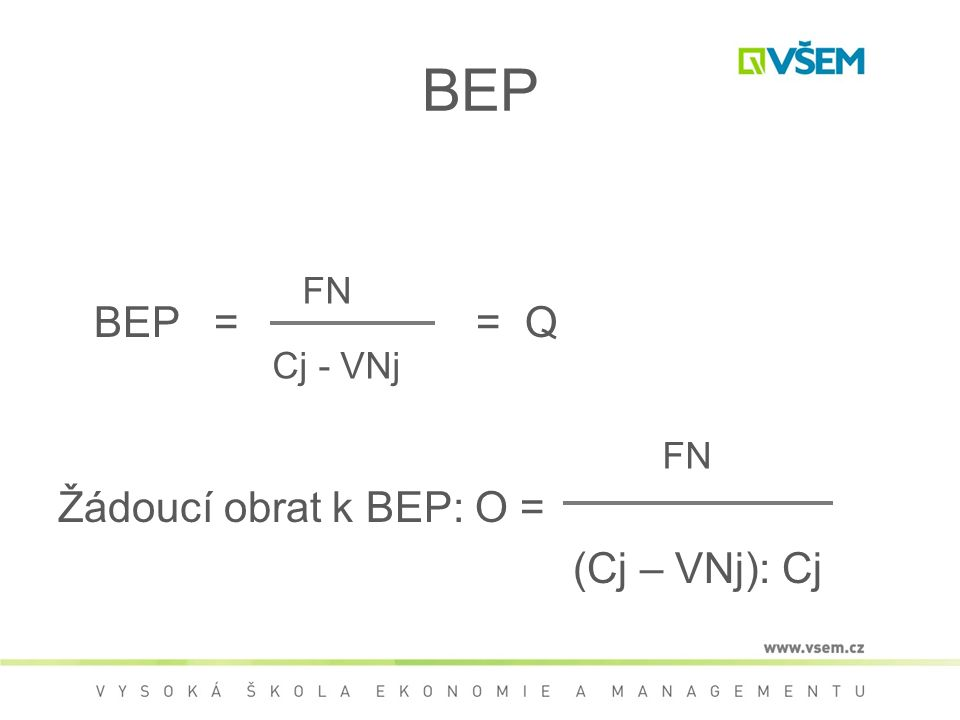 BEP BEP = = Q Žádoucí obrat k BEP: O = (Cj – VNj): Cj FN Cj - VNj FN