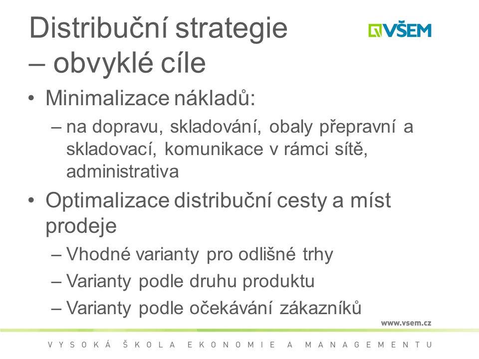 Distribuční strategie – obvyklé cíle Minimalizace nákladů: –na dopravu, skladování, obaly přepravní a skladovací, komunikace v rámci sítě, administrativa Optimalizace distribuční cesty a míst prodeje –Vhodné varianty pro odlišné trhy –Varianty podle druhu produktu –Varianty podle očekávání zákazníků