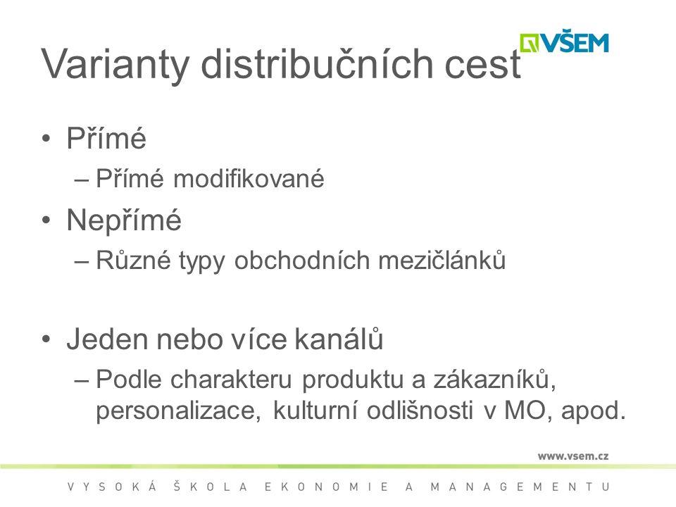 Varianty distribučních cest Přímé –Přímé modifikované Nepřímé –Různé typy obchodních mezičlánků Jeden nebo více kanálů –Podle charakteru produktu a zákazníků, personalizace, kulturní odlišnosti v MO, apod.