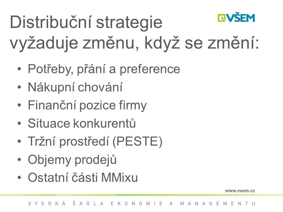 Distribuční strategie vyžaduje změnu, když se změní: Potřeby, přání a preference Nákupní chování Finanční pozice firmy Situace konkurentů Tržní prostředí (PESTE) Objemy prodejů Ostatní části MMixu